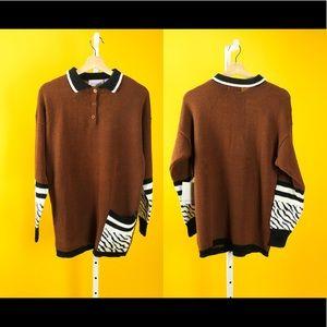 Brown Street Vintage Zebra Print Long Sleeve Shirt